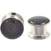 "Black Checker Design Steel Ear Plugs (8g-5/8"")"