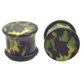 "Dark Green Solid Camo Single Flared Plugs (8g-1/2"")"