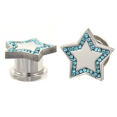 "Aqua CZ Gem Outlined Star Screw Ear Plugs (2g-5/8"")"