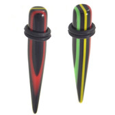 "Green/Black/Yellow/Red Striped Tapers (12g-00g"")"