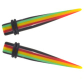 Vertical Rasta Striped Acrylic Tapers (12g-00g)
