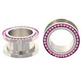 "Linked Pink Beaded Rim Ear Plug Tunnels (0g-13/16"")"