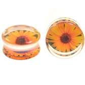 "Bright Yellow Sunflower Clear Plugs (2g-15/16"")"