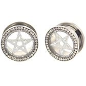 "Silver Star CZ Gem Rim Steel Tunnel Plugs (0g-1"")"