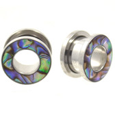 "Vibrant Abalone Shell Rim Tunnels Ear Plugs (4g-5/8"")"