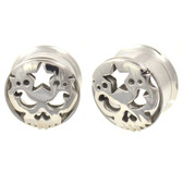 Wicked Skull & Star Screw Fit Tunnel Plugs (8mm-20mm)