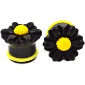 Black Daisy Flower Single Flared Ear Plugs (2g-5/8)