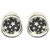 "Black/White Starburst Clear Acrylic Ear Plugs (2g-5/8"")"
