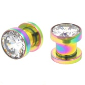 Rainbow Plated Clear CZ Round Stone Plugs (8g-00g)