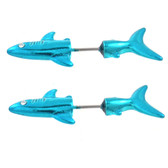 Neon Blue Fierce Shark Fake Plug Earrings