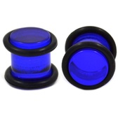 Acrylic Blue Solid Ear Plugs w/O-rings (8g-00g)