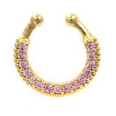 Gold Plated 15 Pink CZ Paved Fake Septum Ring Jewelry
