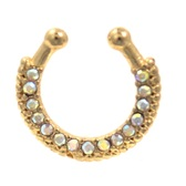 Gold Plated 15 AB CZ Paved Fake Septum Ring Jewelry