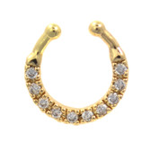 Fancy 10-Gem Clear/Gold Fake Septum Ring Jewelry