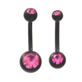 Black Matte Plated Pink Double Gem Belly Ring (2 Sz)