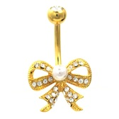Centered Pearl Gold CZ Paved Bow Tie Belly Ring