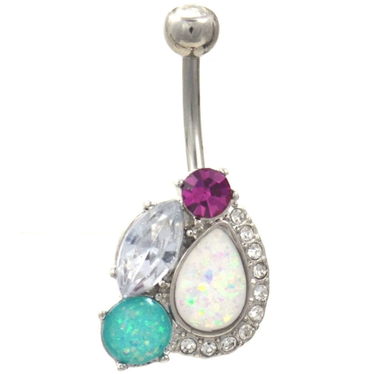 Fancy Gems And Opals Cluster Belly Button Ring