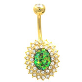 Super Sparkle Green and Clear CZ Burst Belly Ring