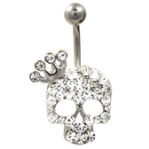 Extravagant Pure Bling Crowned Skull Belly Ring
