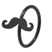 Black Plated Mustache Nose Hoop Ring 20 Gauge 5/16""