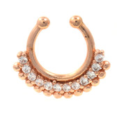 Stylish 12 Gem/Ball Rose Gold Fake Septum Piercing