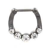Hematite Steel Septum Clicker w/5 Clear CZ's 16G