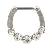 Stainless Steel Septum Clicker w/5 Clear CZ's 16G
