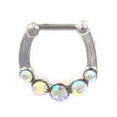 Stainless Steel Septum Clicker w/5 Aurora CZ's 16G