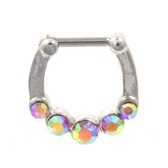 Steel Septum Clicker w/5 Pink Aurora CZ's 16G 9mm