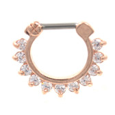 Spiky & Gemmed Rose Gold Septum Clicker Jewelry 16G