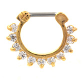 Spiky & Gemmed Gold Septum Clicker Jewelry 16G