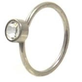 Stainless Steel CZ Nose Hoop Ring 20 Gauge 5/16""