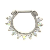 Spiky & Clear/AB Gemmed Septum Clicker Jewelry 16G