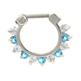 Spiky & Clear/Aqua Gemmed Septum Clicker Jewelry 16G