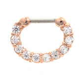 Fancy 10-Gem Rose Gold Septum Clicker Jewelry 16G