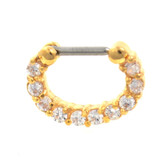 Fancy 10-Gem Gold Septum Clicker Jewelry 16G