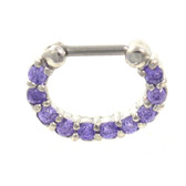 Fancy Violet 10-Gem Steel Septum Clicker Jewelry 16G