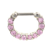 Fancy Pink 10-Gem Steel Septum Clicker Jewelry 16G
