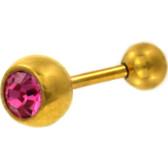 Pink CZ Sparkle Gold-Tone Barbell 16g 1/4""