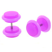 Neon Purple Acrylic Fake Plug Earrings (0g Look)