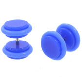 Neon Blue Acrylic Fake Plug Earrings (0g Look)