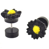 Black & Yellow Daisy Flower Fake Plug Earrings (0g Look)