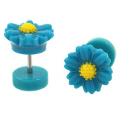 Blue & Yellow Daisy Flower Fake Plug Earrings (0g Look)