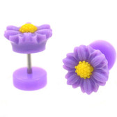 Purple & Yellow Daisy Flower Fake Plug Earrings