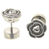 Stainless Steel Carved Metal Rose Fake Plug Earrings