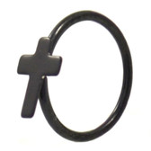 Black Plated Cross Nose Hoop Ring 20 Gauge 5/16""