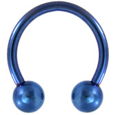 PAIR - Blue Titanium Horseshoe Rings 18G-10G