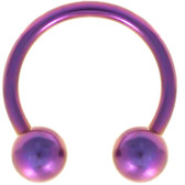 PAIR - Purple Titanium Horseshoe Rings 18G-10G