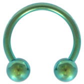 PAIR - Green Titanium Horseshoe Rings 18G-12G