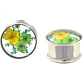 "Real Green/Blue/Yellow Flower Center Plugs (00g-1"")"